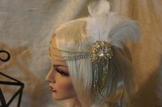 "Gold rhinestones chain headpiece with 2 "" round brooches , ivory  ostrich feathers , 1920's Grate Gatsby style also available in silver !"