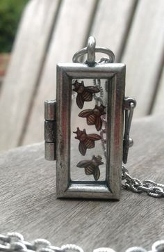 Industrial glass locket picture framed Steampunk by GinnyandJess, $35.00