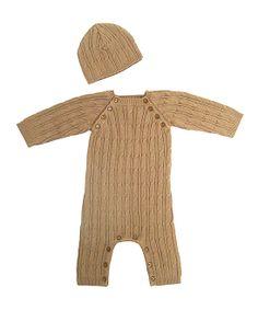d4eda8d8ffe Sand Organic Cable-Knit Romper   Beanie Tadpoles Babies R Us