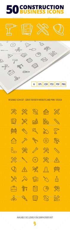50 Construction Business Icons — Photoshop PSD #barrel #jackhammer • Available here → https://graphicriver.net/item/50-construction-business-icons/11905407?ref=pxcr