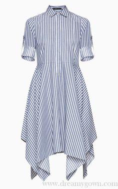 2017 BCBG Beatryce Striped Shirt Asymmetrical Dress Cotton Dress Indian, Casual Cotton Dress, Cotton Shirt Dress, Striped Shirt Dress, Cotton Dresses, Bcbg Dresses, Daytime Dresses, Shirt Style Kurti, Cotton Tunics