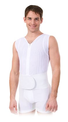 MEN'S SHAPER  Support your back and correct your posture!  This garment is specially designed for men for lumbar and abdominal support. The front zipper provides ease of use while the wide elastic waistband adds support to the lower back and waist. This high quality garment encourages proper shoulder and back posture.