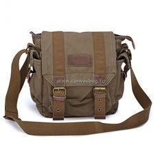 Army Style Canvas Messenger Shoulder Bag - Canvas Bag Leather Bag CanvasBag.Co