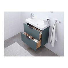 GODMORGON Umyvadlová skříňka se 2 zásuvkami - šedotyrkysová, IKEA
