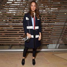 Alicia Vikander at the Louis Vuitton Women's Autumn-Winter 2016 Fashion Show by Nicolas Ghesquière.