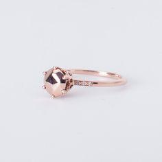 Anna Sheffield - Hazeline Solitaire Ring 14K Rose Gold w/Champagne diamond