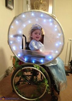 4-year-old Princess Alyssa in her Enchanted Carriage -  a fantastic wheelchair costume!  (Finally tracked down the original source on this! Her mom Susan explains how they made it & how the costume helped raise awareness of Rett Syndrome at the link. Very sweet.)