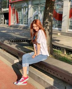 Image may contain: 1 person, shoes and outdoor Fashion Tag, Daily Fashion, South Korean Girls, Korean Girl Groups, Kpop Outfits, Casual Outfits, Retro Outfits, Jeon Somi, Ulzzang Girl