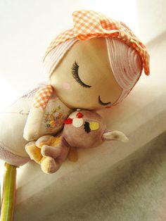 Custom Classic Cloth Doll with Sculpted Bamboo Yarn Hair by Mend-Reserved StepanieSky. Ohh, how cute hair!!!