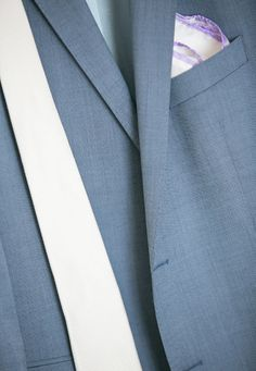 Grey-blue silk suit jacket and white tie- Mitheo Events | Concept Events Styling