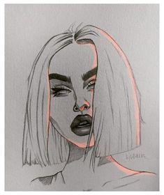 Girl Drawing Sketches, Art Drawings Sketches Simple, Cool Sketches, Hipster Girl Drawing, Hipster Drawings, Portrait Sketches, Girl Sketch, Drawing Ideas, Dark Art Drawings