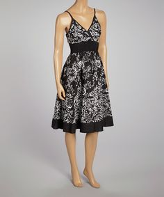 Another great find on #zulily! Magic Black & White Floral Empire-Waist Sleeveless Dress by Magic #zulilyfinds