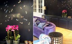 Modern chinoiserie 'Dragonflies' design from Misha wallpaper, hand painted on Black dyed silk.