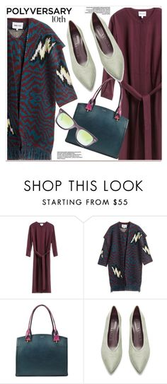 """""""Celebrate Our 10th Polyversary!"""" by paculi ❤ liked on Polyvore featuring Lancel, Ray-Ban, StreetStyle, fringe, cardigan, polyversary and contestentry"""