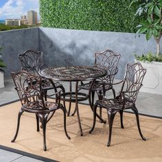Add comfort and style to your backyard area with this Noble House Tucson Shiny Copper Aluminum Outdoor Dining Set. Made of cast aluminum. Lattice Garden, Copper Table, Patio Rocking Chairs, Outdoor Dining Set, Dining Sets, Copper Frame, Deck Decorating, Patio Furniture Sets, Square Tables