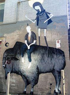"Twoone x GhostPatrol x Max Berry New Mural In Melbourne, Australia ""Ghost Patrol rocks. Rare Australian Bison even more! Street Art Banksy, Street Art News, Street Artists, Strret Art, Street Art Melbourne, Australian Painters, Australian Artists, Berry, Wonder Art"