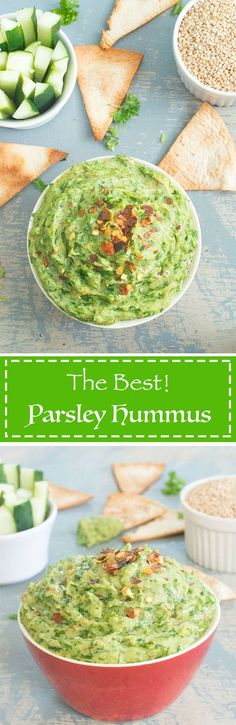 This is the BEST hummus recipe ever! Homemade Parsley hummus made with Parsley and chick peas, its a great way to enjoy a healthy lunch or healthy snack