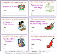 Mother's day coupon book... free printables