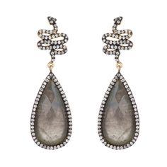 Labradorite  CZ Snake Earrings $195 http://www.HAUTEheadquarters.com