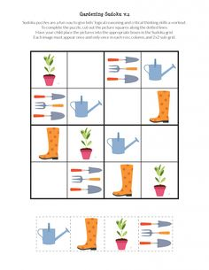 Gardening Sudoku Puzzles - Gift of Curiosity Sudoku Puzzles, Logic Puzzles, Puzzles For Kids, Learning Quotes, Education Quotes, Art Education, Crossword Puzzle Books, Body Preschool, English Worksheets For Kids