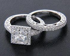Elegant Affordable Custom Moissanite by SolitaireRingJeweler White Diamond Ring, White Gold Rings, Engagement Wedding Ring Sets, Wedding Ring Bands, Wedding Jewelry, Moissanite Diamond Rings, Solitaire Ring, Vintage Style Rings, Earring Trends