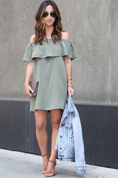 In A Daze Olive Ruffle Dress - ShopLuckyDuck  - 2