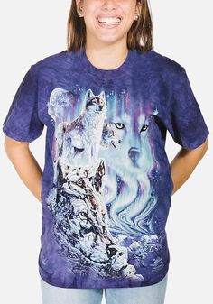 Here at The Mountain, celebrate the wolf daily with our fine collection of wolf art designs on t-shirts, long sleeve tees, hoodie sweatshirts, and more.  Available for men, women, and children at best prices, Order today!