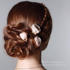 #bridal #updo with flowers & little side #braids