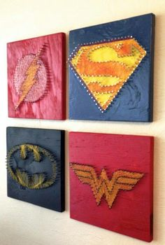 Superhero logos out of nails and string