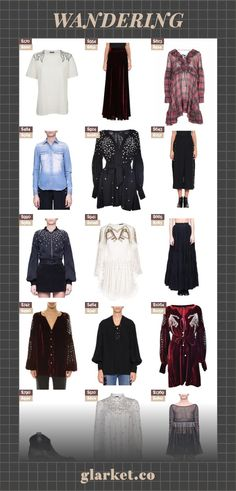 WANDERING | Shop millions of products from around the web | women clothing dress embellished blouse embroidered velvet shirt t-shirt pearl skirt denim mini cotton ruffled and with shirts tulle | glarket.co