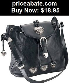 Women-Handbags-and-Purses: New Womens Embassy Black Leather Silver Heart Purse Handbag Shoulder Bag Tote - BUY IT NOW ONLY $18.95