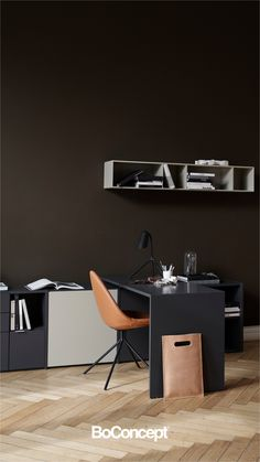Make your office complete. The integration of desk and storage unit in one cohesive design ensures both good looks and optimal functionality. Office Walls, Home Office Desks, Office Decor, Desk In Living Room, Small Living Rooms, Workbench Table, Narrow Table, Desk Tidy, Ergonomic Chair