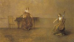 The Song and the Cello, 1921. Thomas Wilmer Dewing (1851-1938). Oil on canvas, 14 x 24.25 in. From the Chase Collection.   Flickr - Photo Sharing!