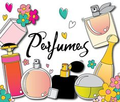 75% OFF SALE Perfume beauty cosmetics doodle by CockatooDesign