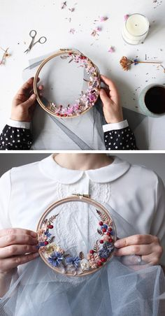 Embroidery Stitches Olga Prinku floral wreath weaves - While many artists create hoop art with embroidery thread, Olga Prinku has a different approach. She creates floral wreath weavings with real blooms. Hand Embroidery Stitches, Modern Embroidery, Embroidery Hoop Art, Hand Embroidery Designs, Floral Embroidery, Cross Stitch Embroidery, Embroidery Ideas, Ribbon Embroidery, Knitting Stitches