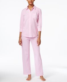 Lauren Ralph Lauren Three-Quarter-Sleeve Shirt and Pants Printed Pajama Set