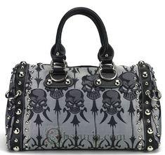 Silver Skull Satin Gothic Handbag Purse