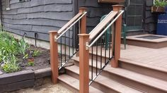 nice mix of materials Handicap Ramps, Balcony Railing, Fence Gate, Stairs, Iron, Windows, Nice, Craft, Home Decor