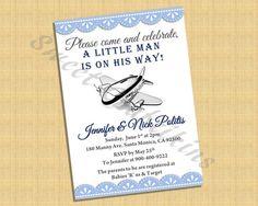 Aviator / Plane Invitation - Baby Shower Birthday Invite- Digital File