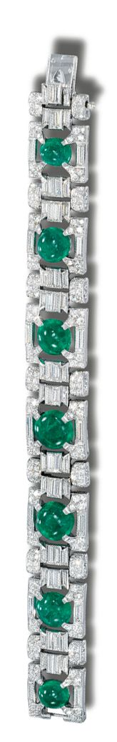 EMERALD AND DIAMOND BRACELET, VAN CLEEF & ARPELS,  1952.  Designed as seven openwork plaques, each centring on a cabochon emerald within surrounds and connecting links set with circular- and single-cut and baguette diamonds, mounted in platinum,    signed Van Cleef & Arpels, numbered, French assay and maker's marks.  length 182mm,