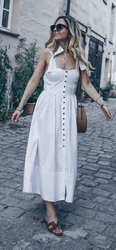 7b4c4e194c Hermes Oran Sandals Street Style Outfit Summer Casual Minimal Chic Fashion  All White