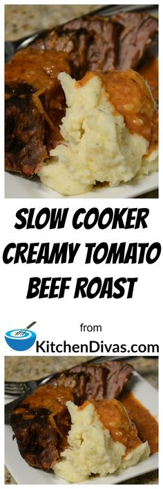 We were served this recipe, Slow Cooker Creamy Tomato Beef Roast, at our friends house for dinner and the first thing I thought was how amazing and different the gravy was.  The whole meal was fabulous actually, but I am a gravy/sauce person.  The roast always turns out beautifully, no matter which cut you use and as I mentioned before the gravy is delicious! #slowcooker #beef #dinner