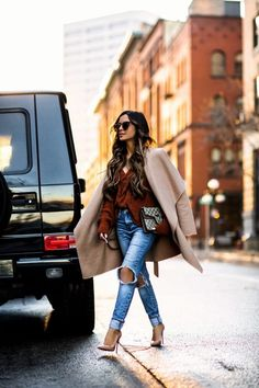24 JAN, 2018 How I Style A Winter Outfit - Outfit Details: Orange V-Neck Sweater Distressed Denim Sunglasses Similar Coat Gucci Mini Dionysus Bag Nude Pumps