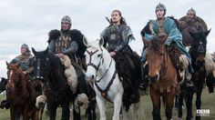 """Alexander Dreymon as Uhtred of Bebbanburg (with Adrian Bower as Leofric (left) and Harry McEntire as Aethelwold) in """"The Last Kingdom"""" Season 1"""