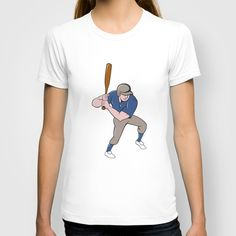Baseball Player Batting Isolated Cartoon T-shirt. Illustration of an american baseball player batter hitter with bat batting viewed from high angle set on isolated white background done in cartoon style. #cartoonillustration #BaseballPlayer