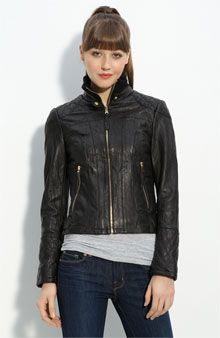 @Amanda Aday Cleland, I'm thinking about picking this up at the #nordstrom anniversary sale...marked down from $348 to $229. Thoughts? I have been looking for a simple leather motorcycle jacket forEVER. I love the quilting detail...
