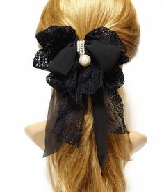 Details about Handmade Lace Chiffon Bow Pearl Ornament Romantic French Hair Barrettes Ribbon Hairstyle, Ribbon Hair Bows, Lace Bows, Inexpensive Wedding Dresses, Headband Wigs, French Hair, Handmade Hair Accessories, Hair Barrettes, Hairbows