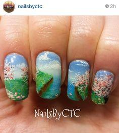 Flower waterscape landscape nails