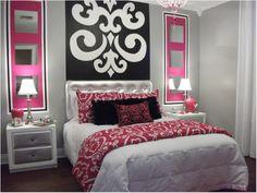 dormitorio en rosa y negro