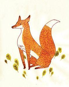 "Noble Fox Print 4x5""  Watercolour Illustration"